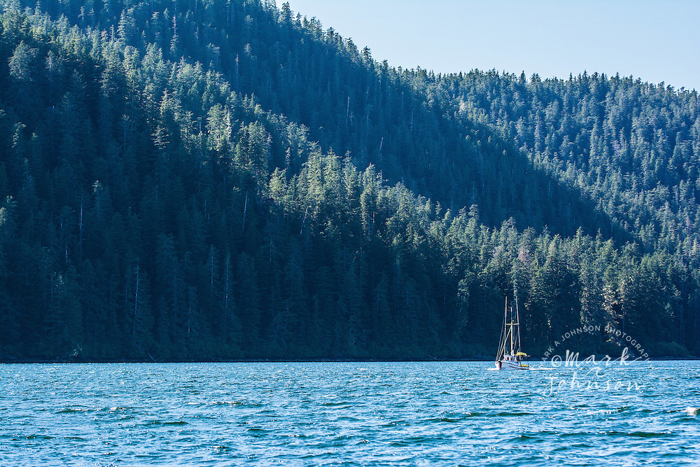 Commercial salmon fishing trolling boat, Inside Passage, Southeast Alaska, USA