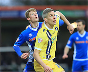 Andy Cannon, Steve Morison during the Sky Bet League 1 match between Rochdale and Millwall at Spotland, Rochdale, England on 13 February 2016. Photo by Daniel Youngs.