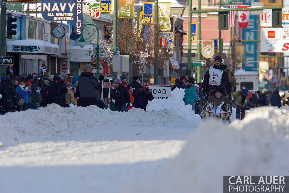 March 7th, 2009:  Anchorage, Alaska - Akken Moor of Two Rivers, Alaska along 4th Avenue at the start of the 2009 Iditarod.