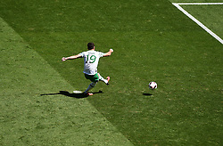 Robbie Brady of Republic of Ireland scores a penalty Robbie Brady of Republic of Ireland  - Mandatory by-line: Joe Meredith/JMP - 26/06/2016 - FOOTBALL - Stade de Lyon - Lyon, France - France v Republic of Ireland - UEFA European Championship Round of 16