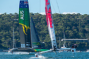 Australia SAILGP Team skippered by Tom Slingsby and Japan SailGP Team skippered by Nathan Outteridge competing on day one of competition. Event 1 Season 1 SailGP event in Sydney Harbour, Sydney, Australia. 15 February 2019. Photo: Chris Cameron for SailGP. Handout image supplied by SailGP