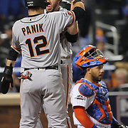 NEW YORK, NEW YORK - October 5: Conor Gillaspie #21 of the San Francisco Giants celebrates at home plate with Joe Panik #12 of the San Francisco Giants after hitting a three run home run in the top of the ninth during the San Francisco Giants Vs New York Mets National League Wild Card game at Citi Field on October 5, 2016 in New York City. (Photo by Tim Clayton/Corbis via Getty Images)
