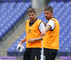 BALTIMORE, MD - Friday, July 27, 2012: Liverpool's captain Steven Gerrard and new signing Fabio Borini during a training session ahead of the pre-season friendly match against Tottenham Hotspur at the M&T Bank Stadium. (Pic by David Rawcliffe/Propaganda)