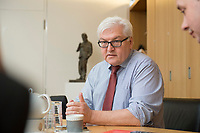 15 JAN 2013, BERLIN/GERMANY:<br /> Frank-Walter Steinmeier, SPD Fraktionsvorsitzender, waehrend einem Interview, in seinem Buero, Jakob-Kaiser-Haus, Deutscher Budnestag<br /> IMAGE: 20130115-01-030<br /> KEYWORDS: B&uuml;ro