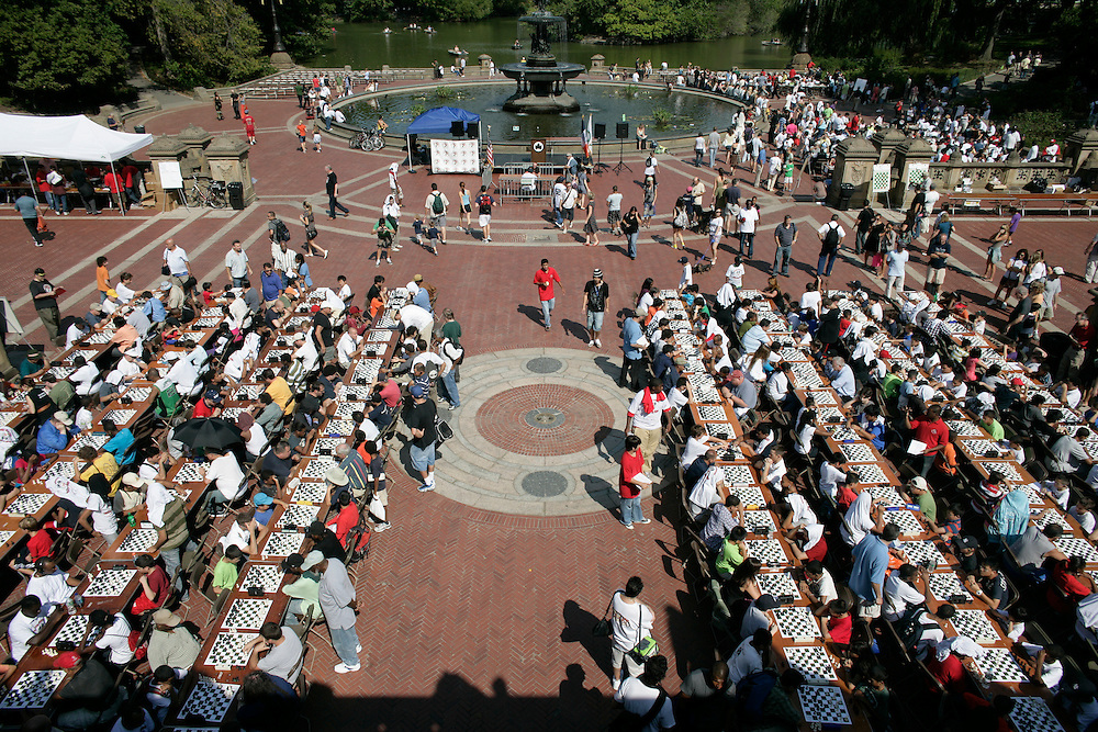 2010 Central Park Chess Tournament on Sept 25, 2010.  There were approximately 700 people attended the tournament, which broke the record.