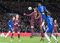 Football - 2017 / 2018 UEFA Champions League - Round of Sixteen, First Leg: Chelsea vs. Barcelona<br /> <br /> Antonio Rudiger (Chelsea FC)  rises highest to head an early chance for Chelsea at the Barcelona goal at Stamford Bridge.<br /> <br /> COLORSPORT/DANIEL BEARHAM