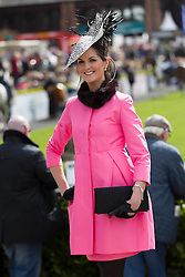 Eimear Nash from Stepaside Co. Dublin the winner of the Coast Best Dressed Lady on the opening day of the Punchestown Raceing Festival. Pic Andres Poveda