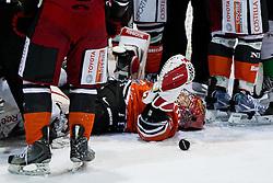 Michal Fikrt (HK Acroni Jesenice, #37) lying on the ice and puck next to him during of ice-hockey match between HK Acroni Jesenice and HDD Tilia Olimpija in 13th Round of EBEL league, on October 21, 2011 at Hala Tivoli, Ljubljana, Slovenia. (Photo By Matic Klansek Velej / Sportida)