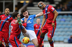 Andrew Hughes of Peterborough United challenges for the ball with Joe Rafferty and Calvin Andrew of Rochdale - Mandatory by-line: Joe Dent/JMP - 25/02/2017 - FOOTBALL - ABAX Stadium - Peterborough, England - Peterborough United v Rochdale - Sky Bet League One
