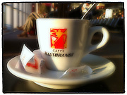 Espresso cup at Charles de Gaulle International Airport, Paris, France. (Sam Lucero photo)