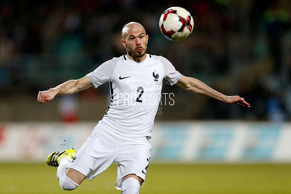 France's defender Christophe Jallet kicks the ball during the FIFA World Cup 2018 qualifying football match, Group A, between Luxembourg and France on March 25, 2017 at Josy Barthel stadium in Luxembourg - Photo Benjamin Cremel / ProSportsImages / DPPI