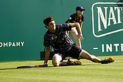 Taylor Fritz (USA) Vs Kyle Edmund GBR) Action at the Nature Valley International Eastbourne 2019, at Devonshire Park, Eastbourne, United Kingdom on 28th June 2019.