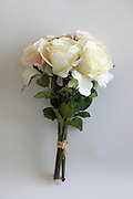 Silk Rose Bouquet on white background