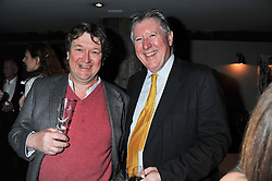 Left to right, ROWLEY LEIGH and JOHN McENTEE at a party to celebrate the publication of A History of Food in 100 Recipes by William Sitwell held at Archer street, 3-4 Archer Street, London W1 on 11th April 2012.