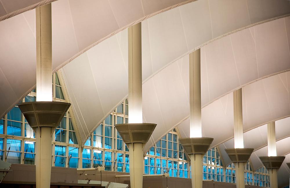 Interior view of Denver International Airport's Jeppesen Terminal.