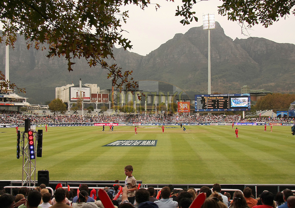 CAPE TOWN, SOUTH AFRICA - 22 April 2009. A general View of Devils Peak from the Oaks Grass embankment  during the  IPL Season 2 match between the Royal Challengers Bangalore and the Deccan Chargers held at Sahara Park Newlands in Cape Town, South Africa..