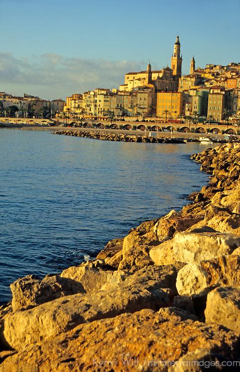 Europe, France, Menton. French Riviera town close to Italian border.