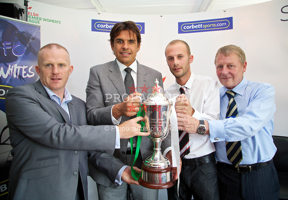 RHYL, WALES - Tuesday, August 20, 2013:Wales team manager Chris Coleman with Marc Lloyd Williams [l] xxxx and Mike Corbett help launch the Corbett Sports Welsh Premier League at Rhyl Football Club. (Pic by David Rawcliffe/Propaganda)