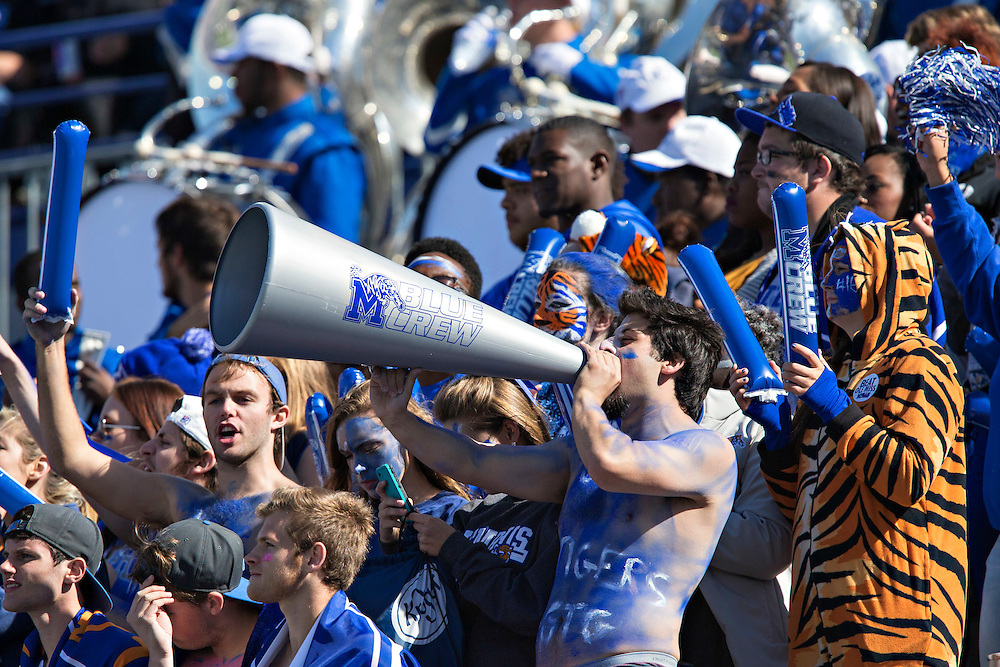 MEMPHIS, TN - OCTOBER 17:  Fans of the Memphis Tigers before a game against the Ole Miss Rebels at Liberty Bowl Memorial Stadium on October 17, 2015 in Memphis, Tennessee.  The Tigers defeated the Rebels 37-24.  (Photo by Wesley Hitt/Getty Images) *** Local Caption ***