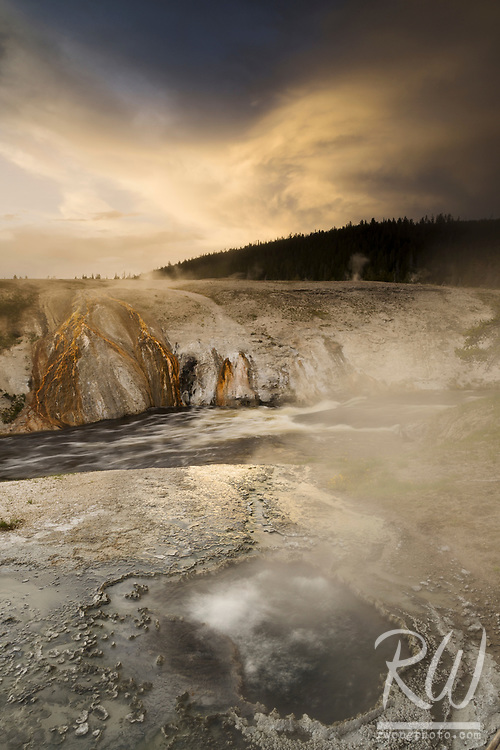 Chinese Spring & Firehole River at Sunset, Yellowstone National Park, Wyoming