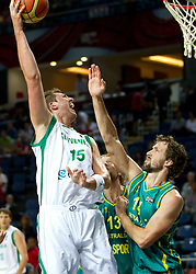 Primoz Brezec of Slovenia vs Matthew Nielsen of Australia during  the eight-final basketball match between National teams of Slovenia and Australia at 2010 FIBA World Championships on September 5, 2010 at the Sinan Erdem Dome in Istanbul, Turkey. (Photo By Vid Ponikvar / Sportida.com)