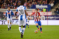 Atletico de Madrid's player Filipe Luis and RCD Espanyol player Leo Baptistao and Papakouli Diop during match of La Liga between Atletico de Madrid and RCD Espanyol at Vicente Calderon Stadium in Madrid, Spain. December 03, 2016. (ALTERPHOTOS/BorjaB.Hojas)