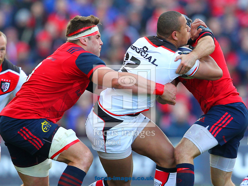 CJ Stander of Munster and Gael Fickou of Stade Toulousain during the European Rugby Champions Cup match at Thomond Park, Limerick<br /> Picture by Yannis Halas/Focus Images Ltd +353 8725 82019<br /> 01/04/2017