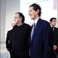nella fotografia: il presidente di Fiat John Elkann e Sergio Marchionne Amministratore delegato di Fiat e di Chrysler.. Torino, 30 marzo 2011, assemblea degli azionisti della Fiat al Lingotto.