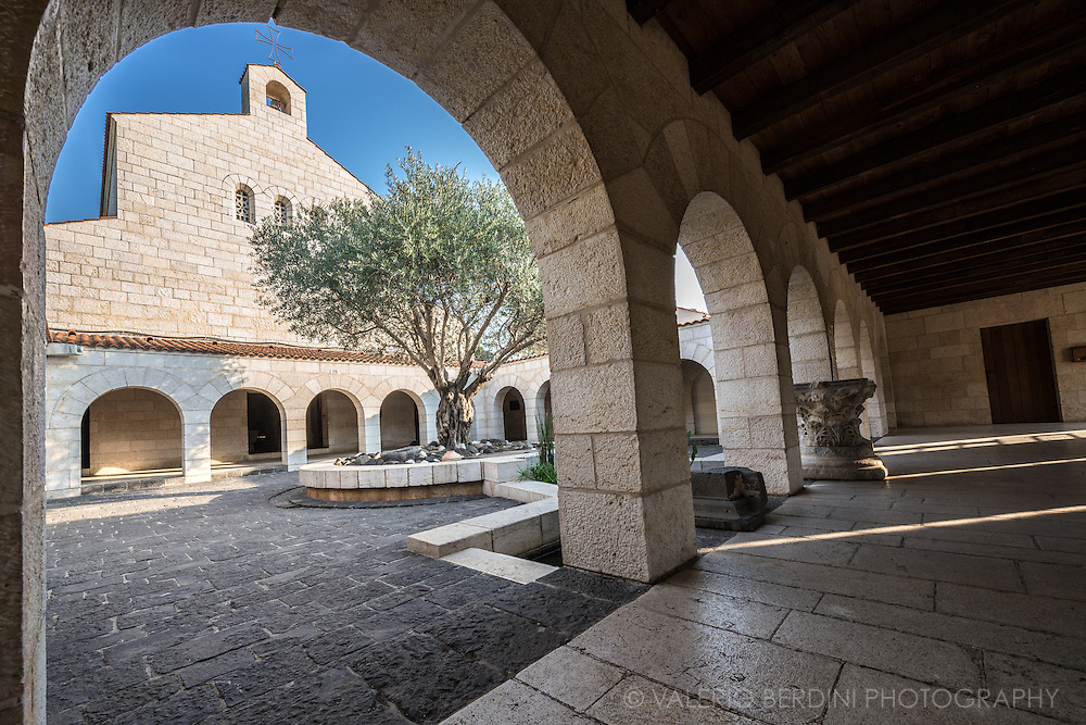 The courtyard of the church of Bread and Fish Church in Galilee, one of the holiest places for Christianity, where Jesus is believed to have multiplied bread and fish, before it was burnt down by radical Jewish settlers.
