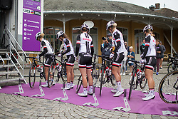 Team Sunweb riders park the bikes before sign-on for  Stage 1 of the Ladies Tour of Norway - a 101.5 km road race, between Halden and Mysen on August 18, 2017, in Ostfold, Norway. (Photo by Balint Hamvas/Velofocus.com)