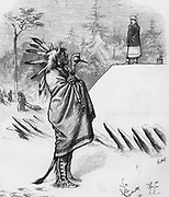 Sitting Bull in Canada standing in snow with war club and pipe. A Royal Canadian Mountie is watching over him as he goes back to the US. Sioux war Chief Harper's Weekly  March, 1879   Satire by Thomas Nast