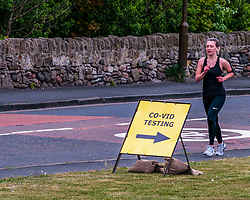 Covid19 testing, Cockenzie, East Lothian, Scotland, United Kingdom, 16 May 2020. Covid-19 testing station: former Cockenzie power station site, bought by East Lothian Council from Scottish Power opens today as a drive-through COVID-19 testing centre. It is operated by the military (51st Infantry Brigade) for keyworkers or a member of their family with symptoms. It operates as a self-contained, drive-through facility with people remaining in their vehicle during testing as part of the Scottish Government's Test, Track, Isolate campaign. Only a trickle of cars are seen. <br /> Sally Anderson   EdinburghElitemedia.co.uk
