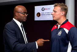 Kriss Akabusi chats with Mitch Eadie of Bristol Rugby after his talk at the Bristol Sport Big Breakfast- Mandatory by-line: Robbie Stephenson/JMP - 29/07/2016 - FOOTBALL - Ashton Gate - Bristol, England - Bristol Sport Big Breakfast - Kriss Akabusi