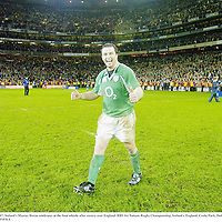 24 February 2007; Ireland's Marcus Horan celebrates at the final whistle after victory over England. RBS Six Nations Rugby Championship, Ireland v England, Croke Park, Dublin. Picture Credit: Brendan Moran / SPORTSFILE