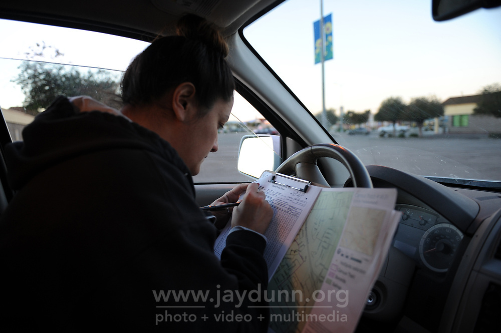 Daniela Mejia checks her forms for accuracy during the 2017 Point-In-Time Homeless Count and Survey in Salinas early Wednesday morning, Jan. 25th.