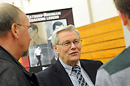 Bob Ayton (track and cross country) speaks with former students during a Salute to Hatboro-Horsham Coaching Legends Friday January 15, 2016 at Hatboro-Horsham High School in Hosham, Pennsylvania. (Photo by William Thomas Cain)