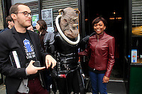 The scene outside the Dr. Who event at The Way Station Bar and Venue in Prospect Heights. Shot on March 31, 2013..Left to right ;  Alex Angler , Alyssa Smith of Propped up crations in Rhino outfit, Janel McClain and Anna Grindrod - Feeny ..Photo Credit ; Rahav Iggy Segev/Photopass.com