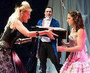 Prima La Musica<br /> Opera At Home Ensemble<br /> at The Arcola Theatre, London, Great Britain <br /> 25th August 2011 <br /> Rehearsal <br /> Grimeborn The Opera Festival<br /> directed by Jose Manuel Gandia<br /> <br /> <br /> Victor Sgarbi (as Maestro)<br /> <br /> Alexia Mankovskaya (as Eleonora)<br /> <br /> Merrin Lazyan (as Tonina)<br /> <br /> <br /> <br /> Photograph by Elliott Franks