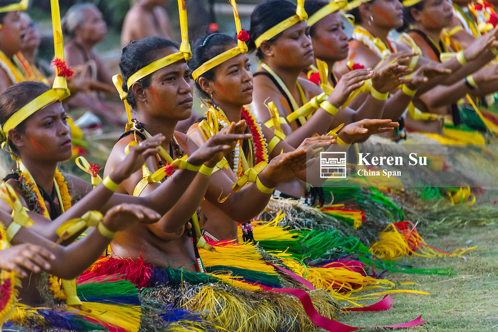 Yapese women in traditional clothing singing and dancing at Yap Day Festival, Yap Island, Federated States of Micronesia