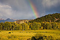 Rainbow over ranch land near Ridgway, Colorado.