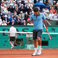 7 June 2009: Roger Federer of Switzerland celebrates during the Men's Singles Final match on day fifteen of the French Open at Roland Garros in Paris, France.