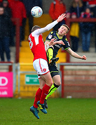 Luke Russe of Bristol Rovers challenges Jack Sowerby of Fleetwood Town - Mandatory by-line: Robbie Stephenson/JMP - 02/04/2018 - FOOTBALL - Highbury Stadium - Fleetwood, England - Fleetwood Town v Bristol Rovers - Sky Bet League One