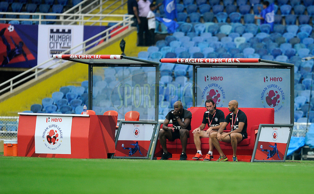 Officials seating area during match 23 of the Indian Super League (ISL) season 2  between Mumbai City FC and NorthEast United FC held at the D.Y. Patil Stadium, Navi Mumbai, India on the 28th October 2015.<br /> <br /> Photo by Pal Pillai / ISL/ SPORTZPICS