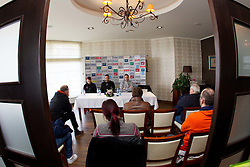 Uros Mohoric, Boris Denic, head coach and player Uros Zorman during press conference of Slovenia Men Handball team 1st day of 10th EHF European Handball Championship Serbia 2012, on January 15, 2012 in Hotel Srbija, Vrsac, Serbia.  (Photo By Vid Ponikvar / Sportida.com)
