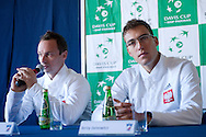 (L) Radoslaw Szymanik - captain national team & (R) Jerzy Janowicz of Poland while press conference three days before the BNP Paribas Davis Cup 2014 between Poland and Croatia at Torwar Hall in Warsaw on April 1, 2014.<br /> <br /> Poland, Warsaw, April 1, 2014<br /> <br /> Picture also available in RAW (NEF) or TIFF format on special request.<br /> <br /> For editorial use only. Any commercial or promotional use requires permission.<br /> <br /> Mandatory credit:<br /> Photo by © Adam Nurkiewicz / Mediasport