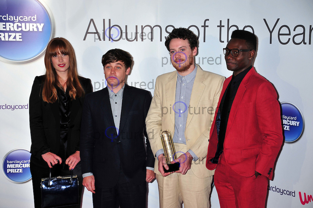 Anna Prior Oscar Cash Joseph Mount and Gbenga Adelekan of  Metronomy attend the Barclaycard Mercury Prize Best Album of the Year held at the Grosvenor House Hotel, London, UK. 06 September 2011. ALAN ROXBOROUGH /Piqtured