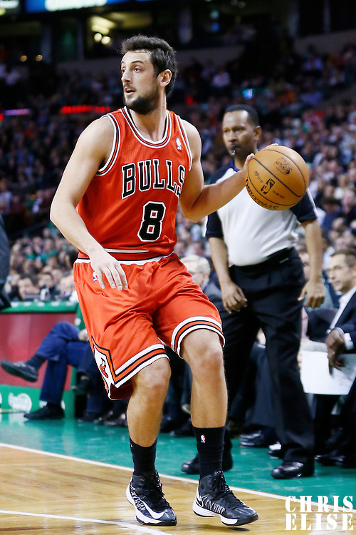 13 February 2013: Chicago Bulls shooting guard Marco Belinelli (8) looks to pass the ball during the Boston Celtics 71-69 victory over the Chicago Bulls at the TD Garden, Boston, Massachusetts, USA.