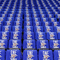 12 June 2012: View of the seats with tee-shirts on them prior to Game 1 of the 2012 NBA Finals between the Heat and the Thunder, at the Chesapeake Energy Arena, Oklahoma City, Oklahoma, USA.