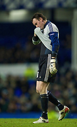 LIVERPOOL, ENGLAND - Thursday, December 17, 2009: FC BATE Borisov's goalkeeper Siarhei Veremko during the UEFA Europa League Group I match against Everton at Goodison Park. (Pic by David Rawcliffe/Propaganda)