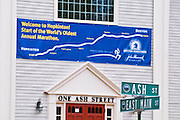 Course banner at the starting line of the Boston Marathon (World's oldest annual), Hopkinton, Massachusetts